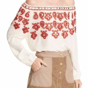 TORY BURCH Blouse Top Leyla Silk Embroidered